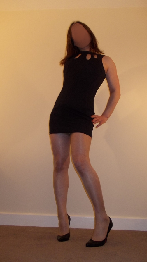 Shemale wearing little black dress