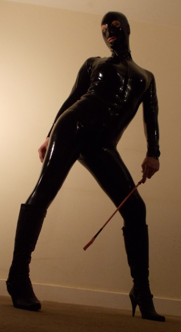 Black latex catsuit shemale mistress