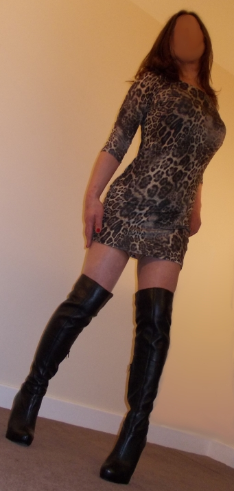 Leopard Print Dress & Leather Thigh High Boots
