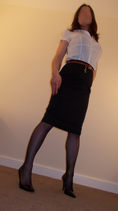 Tranny Office Girl, Stockings High Heels, Pencil Skirt & Blouse